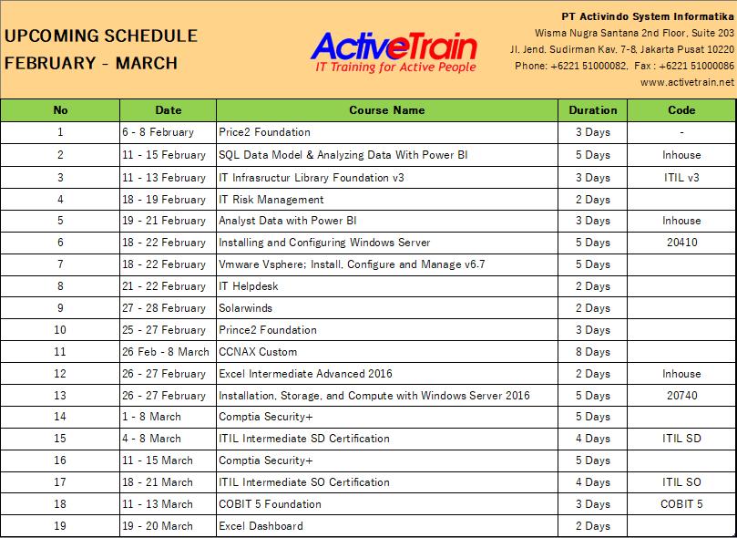 Upcoming Schedule Februari – Maret 2019